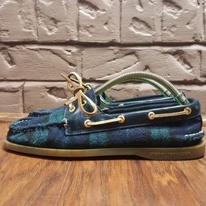 Sperry Women's Top Sider Plaid Boat Shoes, Size 8